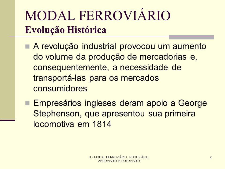 III - MODAL FERROVIÁRIO, RODOVIÁRIO, AEROVIÁRIO E DUTOVIÁRIO 2 MODAL FERROVIÁRIO Evolução Histórica A revolução industrial provocou um aumento do volume da produção de mercadorias e, consequentemente, a necessidade de transportá-las para os mercados consumidores Empresários ingleses deram apoio a George Stephenson, que apresentou sua primeira locomotiva em 1814