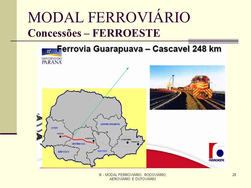 III - MODAL FERROVIÁRIO, RODOVIÁRIO, AEROVIÁRIO E DUTOVIÁRIO 28 MODAL FERROVIÁRIO Concessões – FERROESTE