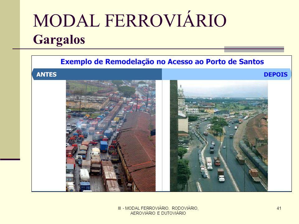 III - MODAL FERROVIÁRIO, RODOVIÁRIO, AEROVIÁRIO E DUTOVIÁRIO 41 MODAL FERROVIÁRIO Gargalos