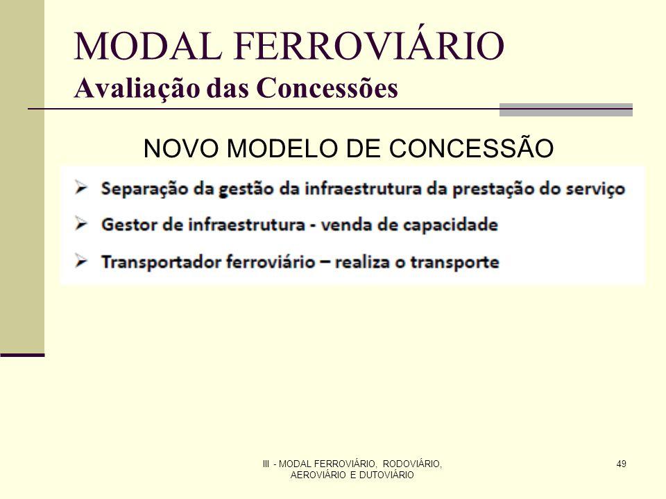 III - MODAL FERROVIÁRIO, RODOVIÁRIO, AEROVIÁRIO E DUTOVIÁRIO 49 MODAL FERROVIÁRIO Avaliação das Concessões NOVO MODELO DE CONCESSÃO