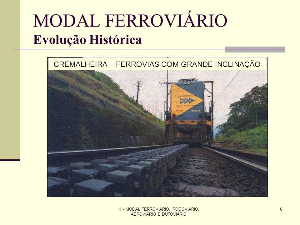 III - MODAL FERROVIÁRIO, RODOVIÁRIO, AEROVIÁRIO E DUTOVIÁRIO 17 MODAL FERROVIÁRIO Evolução Histórica PRÉ-CONCESSÕES RFFSA operava 77% da malha do país Estrada de Ferro Vitória Minas (EFVM), da CVRD – 38% da produção de transporte (1995) Estrada de Ferro Carajás (EFC), da CVRD.