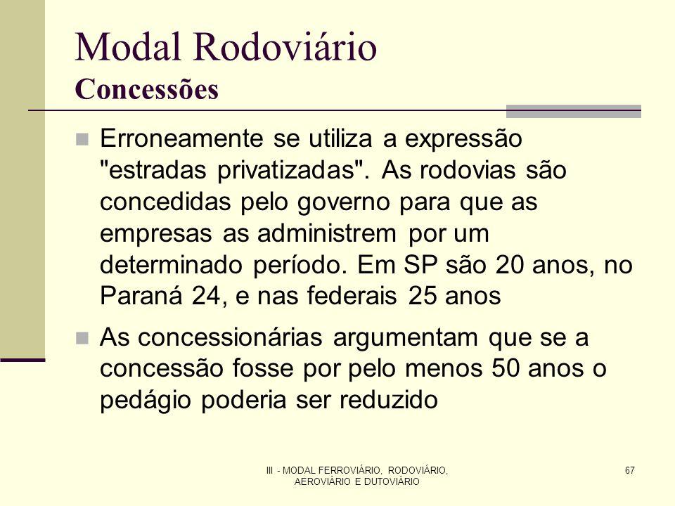 III - MODAL FERROVIÁRIO, RODOVIÁRIO, AEROVIÁRIO E DUTOVIÁRIO 67 Modal Rodoviário Concessões Erroneamente se utiliza a expressão estradas privatizadas .