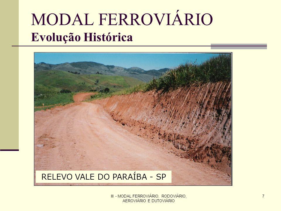 III - MODAL FERROVIÁRIO, RODOVIÁRIO, AEROVIÁRIO E DUTOVIÁRIO 8 MODAL FERROVIÁRIO Evolução Histórica BRASIL Lei 641-1852 - concedia por 90 anos, garantia de juros de 5% sobre o capital, privilégio de zona de 33 km, direito de explorar os recursos ao longo da linha e isenção de impostos para equipamentos importados Mesmo com estas vantagens em 1890 o Brasil possuía 9.076 km de linhas