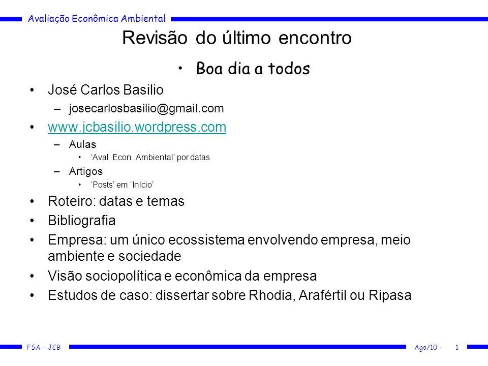 Avaliação Econômica Ambiental FSA – JCB Ago/10 -12 Os quatro elementos - Resíduos Só 40% do lixo doméstico coletado no Brasil tem um destino adequado –IPT: embalagens => 35% do volume dos resíduos urbanos brasileiros: 71,4%=papel e papelão; 11,4%=metais e latas; 8,5%=plásticos e 8,5%= vidro.