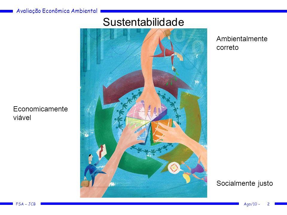 Avaliação Econômica Ambiental FSA – JCB Ago/10 -3 Sustentabilidade Afinal, o que é Sustentabilidade.
