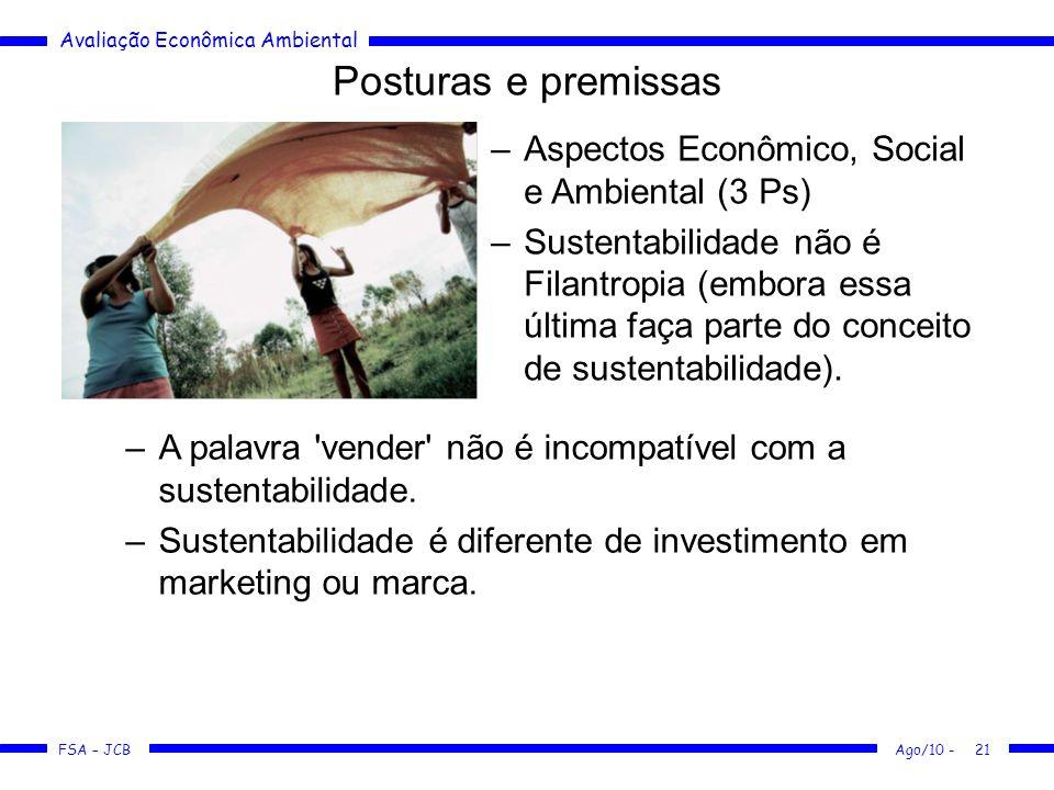 Avaliação Econômica Ambiental FSA – JCB Ago/10 -21 Posturas e premissas –Aspectos Econômico, Social e Ambiental (3 Ps) –Sustentabilidade não é Filantr