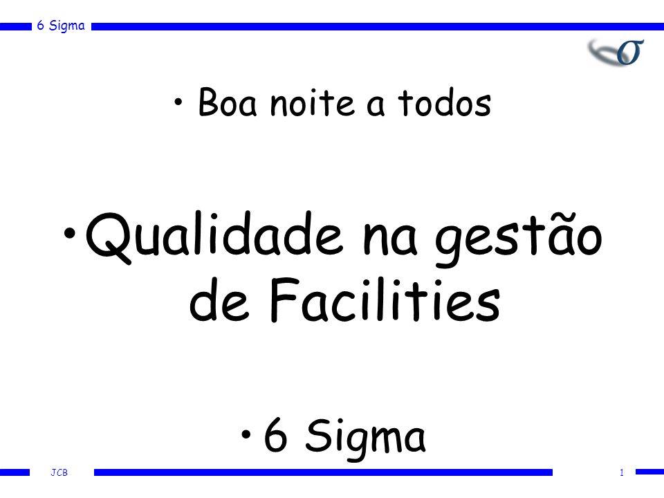 6 Sigma JCB 1 Boa noite a todos Qualidade na gestão de Facilities 6 Sigma