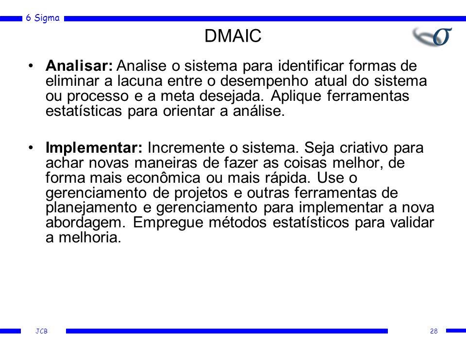 6 Sigma JCB DMAIC Analisar: Analise o sistema para identificar formas de eliminar a lacuna entre o desempenho atual do sistema ou processo e a meta desejada.