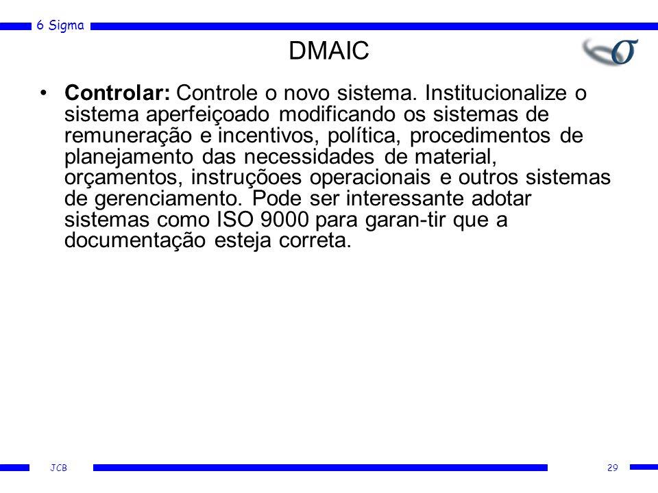 6 Sigma JCB DMAIC Controlar: Controle o novo sistema. Institucionalize o sistema aperfeiçoado modificando os sistemas de remuneração e incentivos, pol