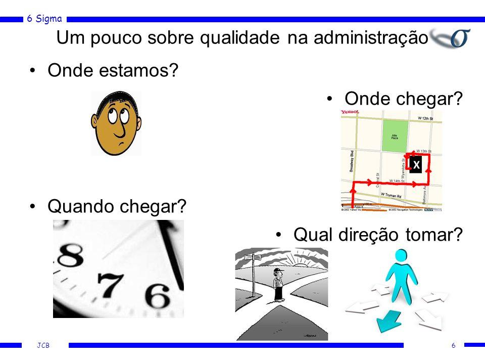 6 Sigma JCB Um pouco sobre qualidade na administração Onde estamos? Quando chegar? 6 Onde chegar? Qual direção tomar?