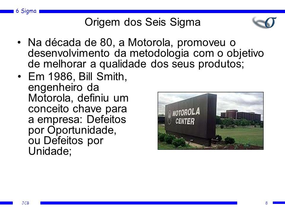 6 Sigma JCB 8 Origem dos Seis Sigma Na década de 80, a Motorola, promoveu o desenvolvimento da metodologia com o objetivo de melhorar a qualidade dos seus produtos; Em 1986, Bill Smith, engenheiro da Motorola, definiu um conceito chave para a empresa: Defeitos por Oportunidade, ou Defeitos por Unidade;