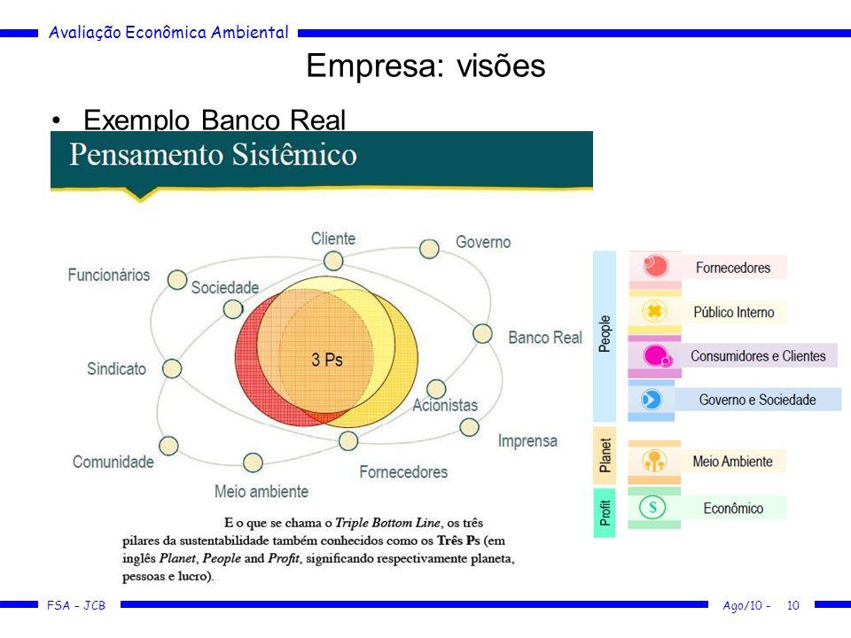 Avaliação Econômica Ambiental FSA – JCB Ago/10 -10 Empresa: visões Exemplo Banco Real