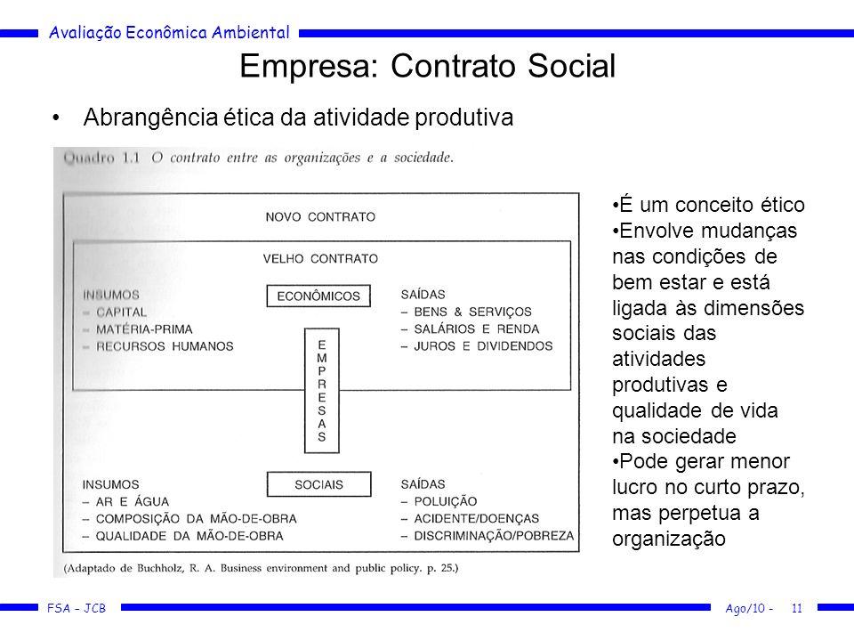 Avaliação Econômica Ambiental FSA – JCB Ago/10 -11 Empresa: Contrato Social Abrangência ética da atividade produtiva É um conceito ético Envolve mudan