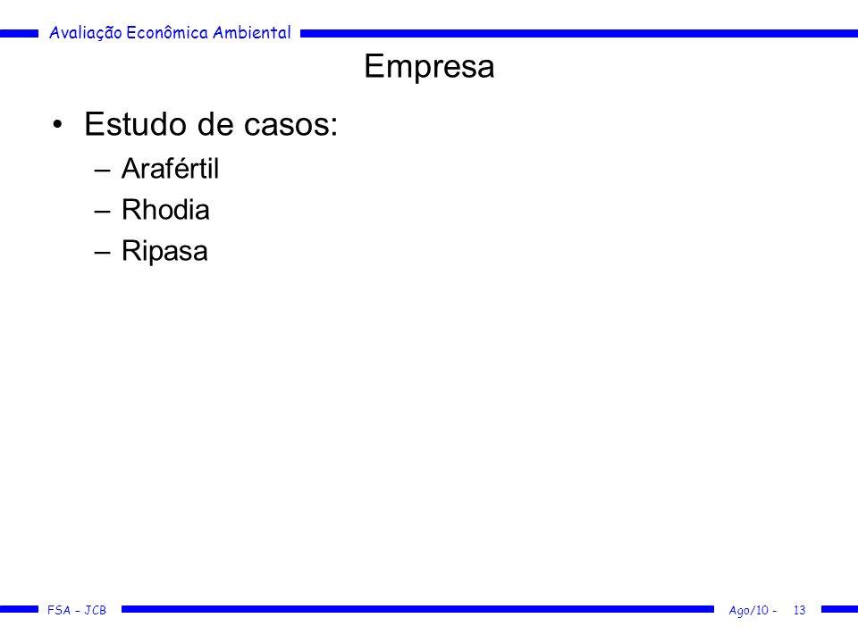 Avaliação Econômica Ambiental FSA – JCB Ago/10 -13 Empresa Estudo de casos: –Arafértil –Rhodia –Ripasa