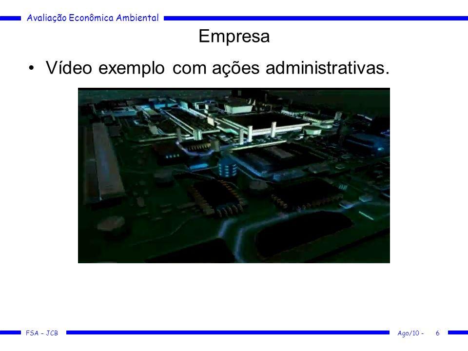 Avaliação Econômica Ambiental FSA – JCB Ago/10 -6 Vídeo exemplo com ações administrativas. Empresa