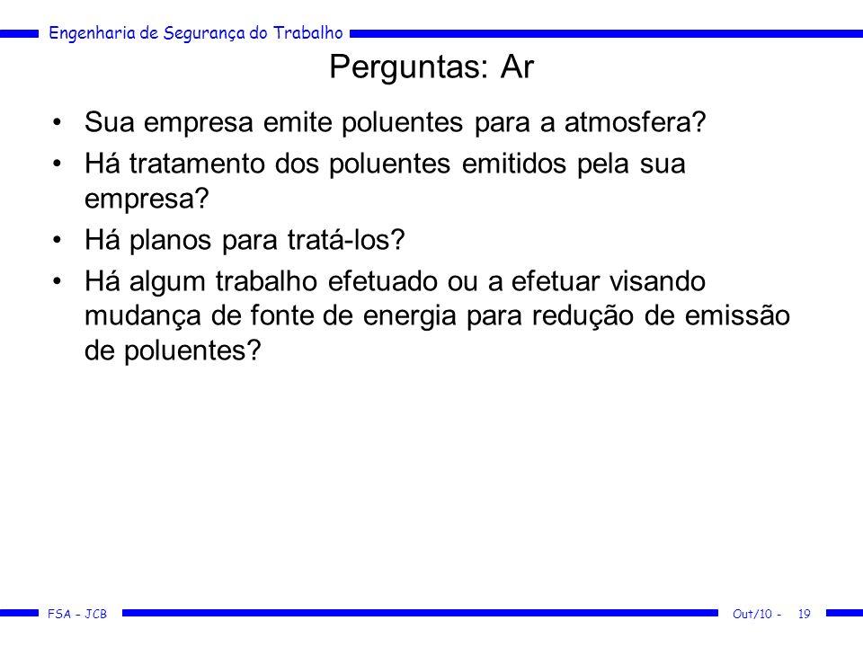 FSA – JCB Engenharia de Segurança do Trabalho Out/10 -19 Perguntas: Ar Sua empresa emite poluentes para a atmosfera? Há tratamento dos poluentes emiti