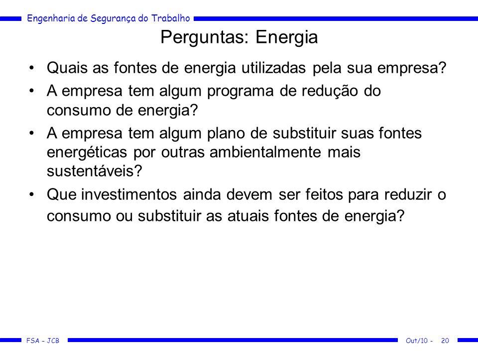 FSA – JCB Engenharia de Segurança do Trabalho Out/10 -20 Perguntas: Energia Quais as fontes de energia utilizadas pela sua empresa? A empresa tem algu