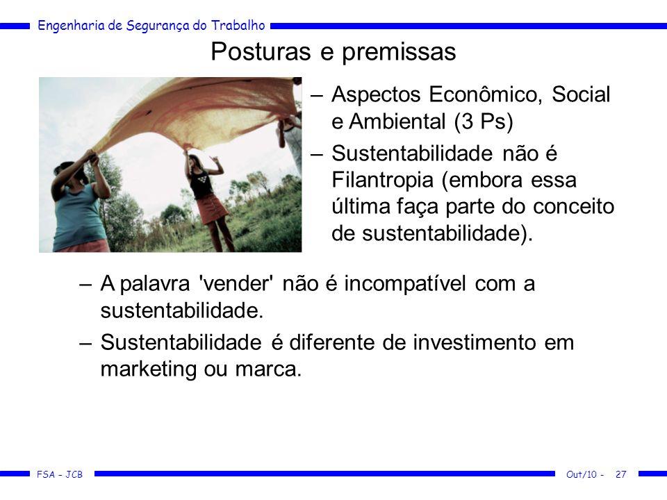 FSA – JCB Engenharia de Segurança do Trabalho Out/10 -27 Posturas e premissas –Aspectos Econômico, Social e Ambiental (3 Ps) –Sustentabilidade não é F