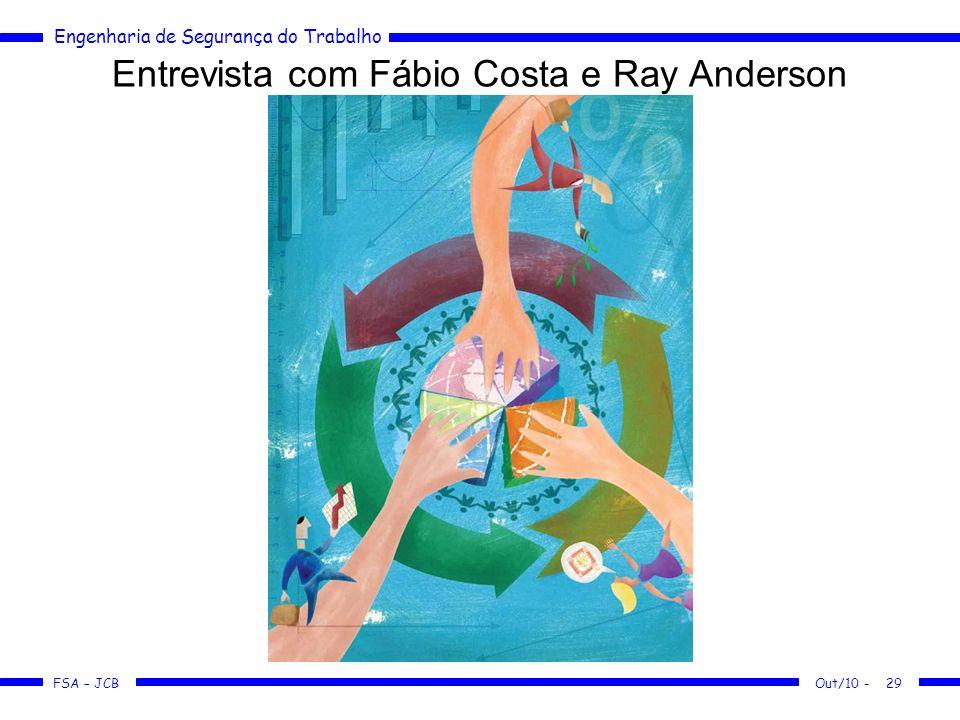 FSA – JCB Engenharia de Segurança do Trabalho Out/10 -29 Entrevista com Fábio Costa e Ray Anderson