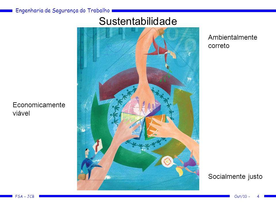 FSA – JCB Engenharia de Segurança do Trabalho Out/10 -4 Sustentabilidade Economicamente viável Socialmente justo Ambientalmente correto