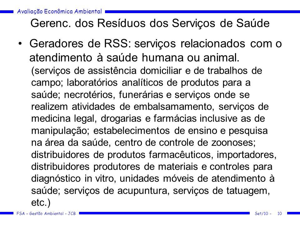 Avaliação Econômica Ambiental FSA – Gestão Ambiental - JCB Gerenc. dos Resíduos dos Serviços de Saúde Geradores de RSS: serviços relacionados com o at