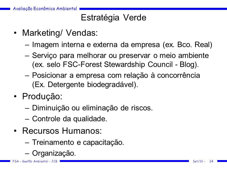 Avaliação Econômica Ambiental FSA – Gestão Ambiental - JCB Estratégia Verde Marketing/ Vendas: –Imagem interna e externa da empresa (ex. Bco. Real) –S