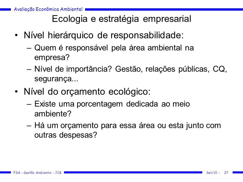 Avaliação Econômica Ambiental FSA – Gestão Ambiental - JCB Ecologia e estratégia empresarial Nível hierárquico de responsabilidade: –Quem é responsáve