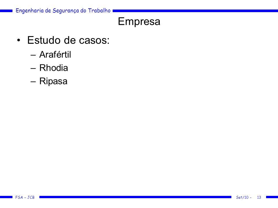Engenharia de Segurança do Trabalho FSA – JCB Set/10 -13 Empresa Estudo de casos: –Arafértil –Rhodia –Ripasa