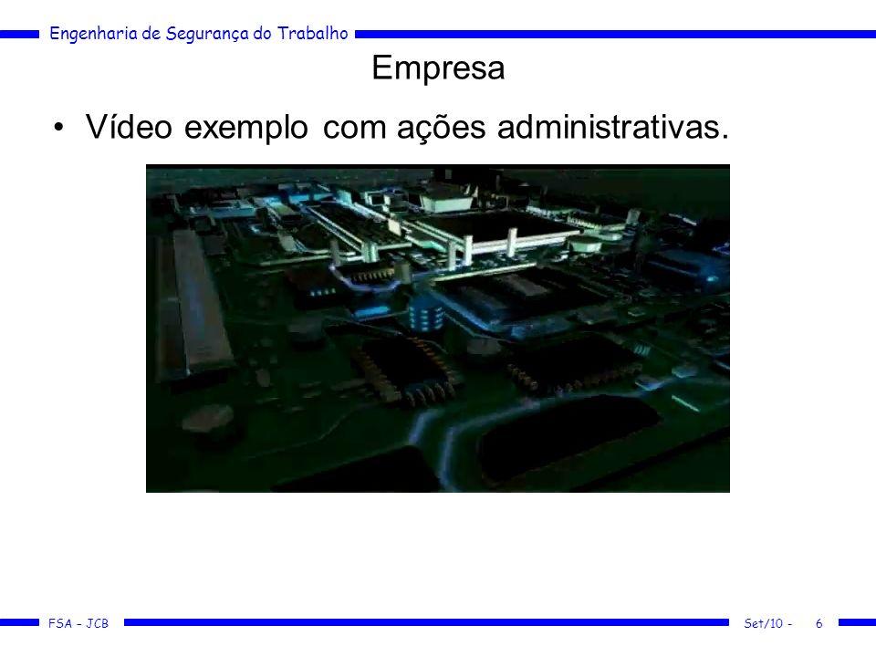 Engenharia de Segurança do Trabalho FSA – JCB Set/10 -6 Vídeo exemplo com ações administrativas. Empresa
