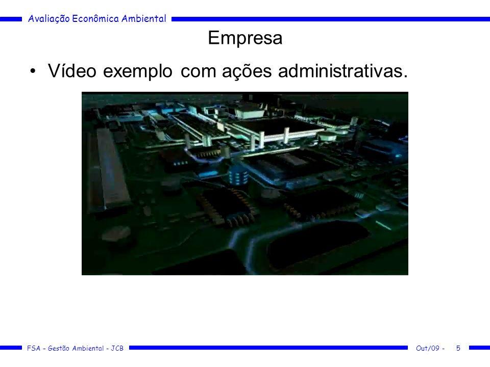 Avaliação Econômica Ambiental FSA – Gestão Ambiental - JCB Out/09 -16 Empresa Estudo de casos: –Arafértil –Rhodia –Ripasa