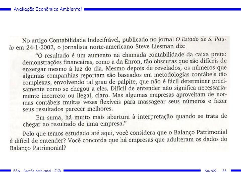 Avaliação Econômica Ambiental FSA – Gestão Ambiental - JCB 23Nov/09 -