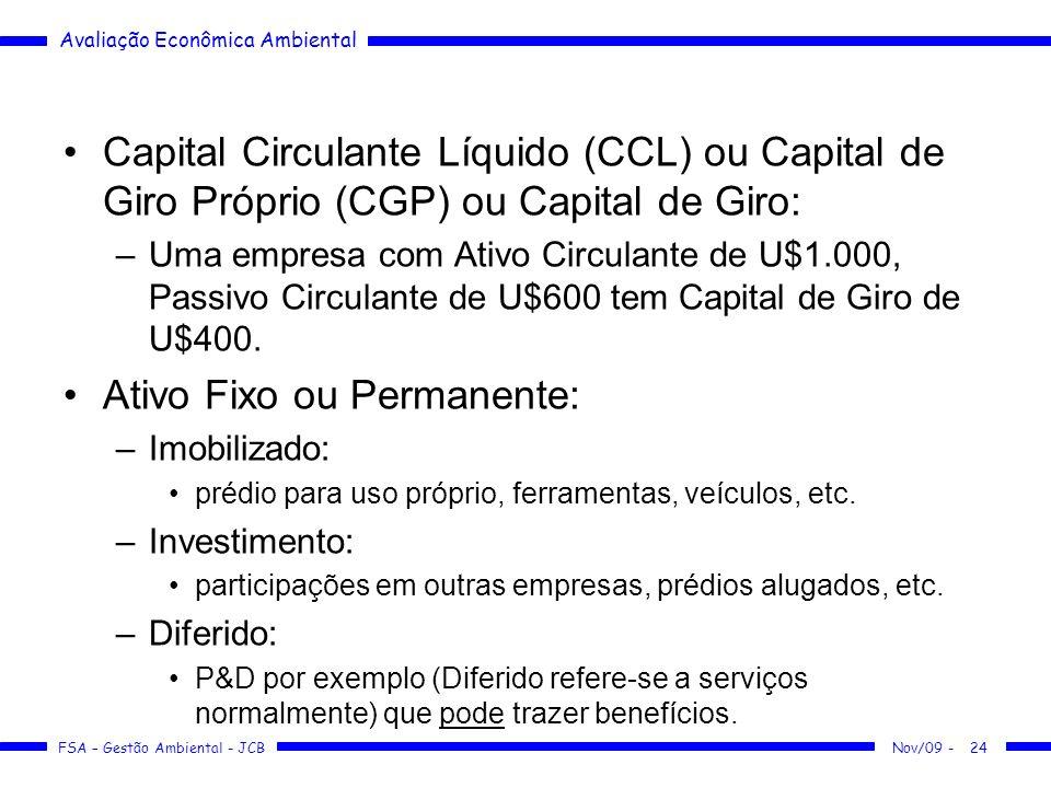 Avaliação Econômica Ambiental FSA – Gestão Ambiental - JCB Capital Circulante Líquido (CCL) ou Capital de Giro Próprio (CGP) ou Capital de Giro: –Uma