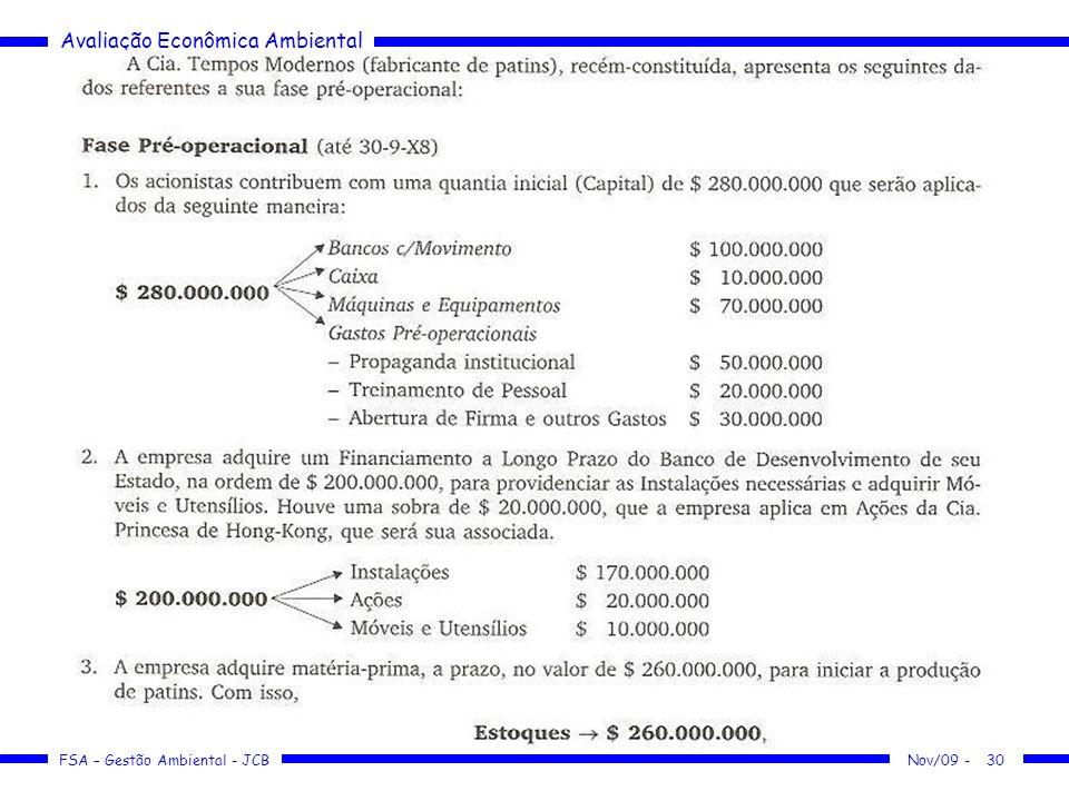 Avaliação Econômica Ambiental FSA – Gestão Ambiental - JCB 30Nov/09 -