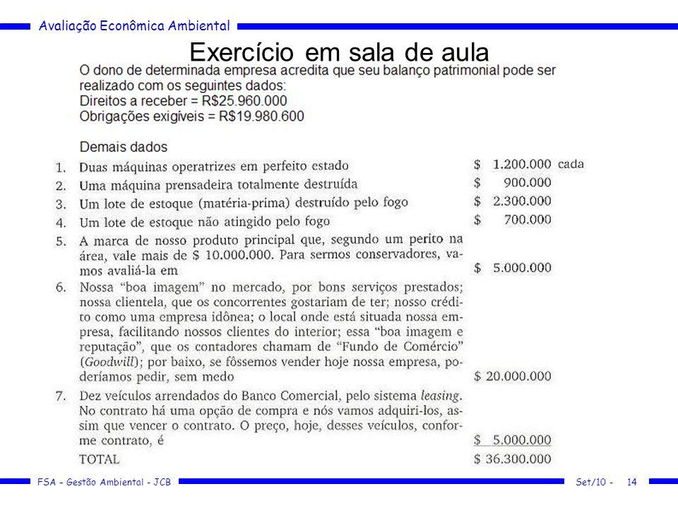 Avaliação Econômica Ambiental FSA – Gestão Ambiental - JCB Exercício em sala de aula 14Set/10 -