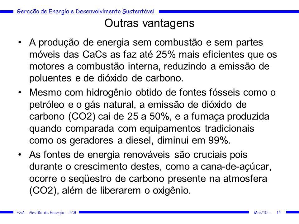 Geração de Energia e Desenvolvimento Sustentável FSA – Gestão de Energia - JCB Outras vantagens A produção de energia sem combustão e sem partes móvei