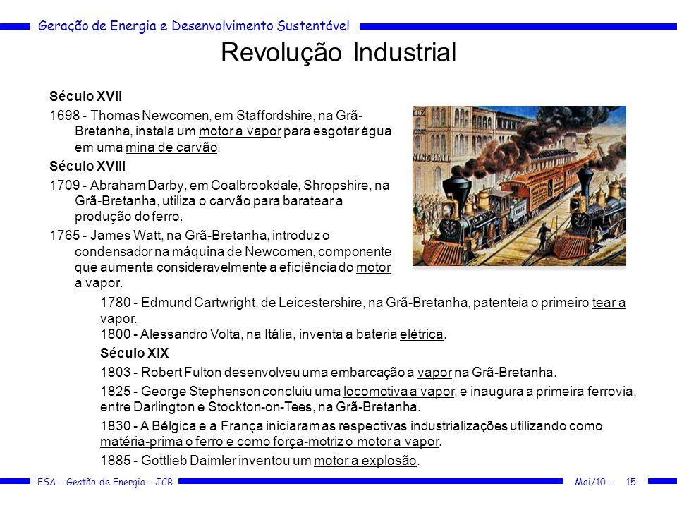 Geração de Energia e Desenvolvimento Sustentável FSA – Gestão de Energia - JCB Revolução Industrial Século XVII 1698 - Thomas Newcomen, em Staffordshi