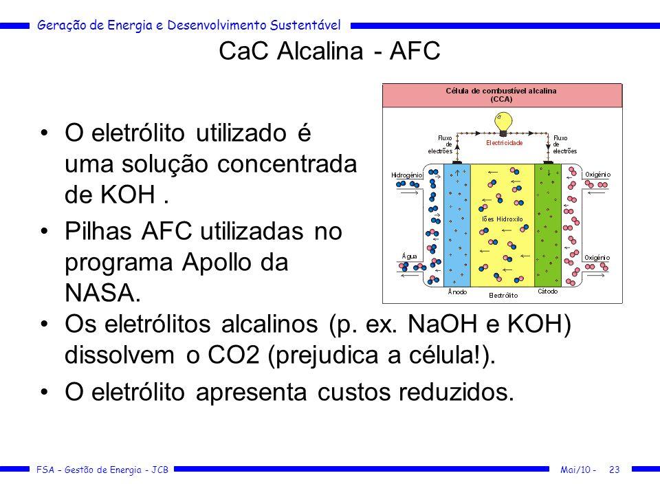 Geração de Energia e Desenvolvimento Sustentável FSA – Gestão de Energia - JCB CaC Alcalina - AFC O eletrólito utilizado é uma solução concentrada de