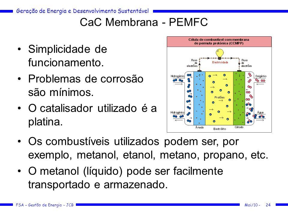 Geração de Energia e Desenvolvimento Sustentável FSA – Gestão de Energia - JCB CaC Membrana - PEMFC Mai/10 -24 Simplicidade de funcionamento. Problema