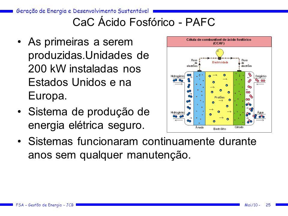 Geração de Energia e Desenvolvimento Sustentável FSA – Gestão de Energia - JCB CaC Ácido Fosfórico - PAFC Mai/10 -25 As primeiras a serem produzidas.U