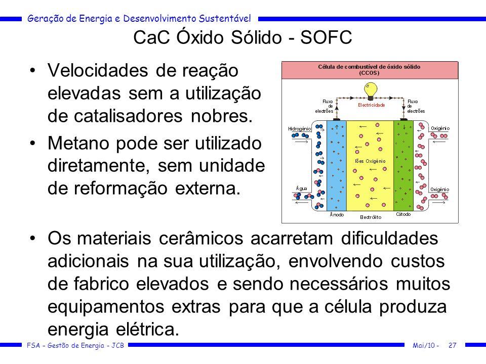Geração de Energia e Desenvolvimento Sustentável FSA – Gestão de Energia - JCB CaC Óxido Sólido - SOFC Mai/10 -27 Velocidades de reação elevadas sem a