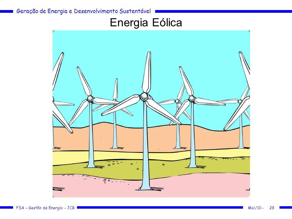Geração de Energia e Desenvolvimento Sustentável FSA – Gestão de Energia - JCB Energia Eólica Mai/10 -28