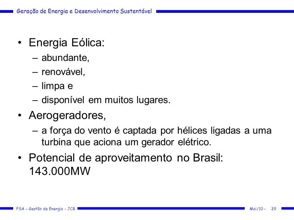 Geração de Energia e Desenvolvimento Sustentável FSA – Gestão de Energia - JCB Energia Eólica: –abundante, –renovável, –limpa e –disponível em muitos