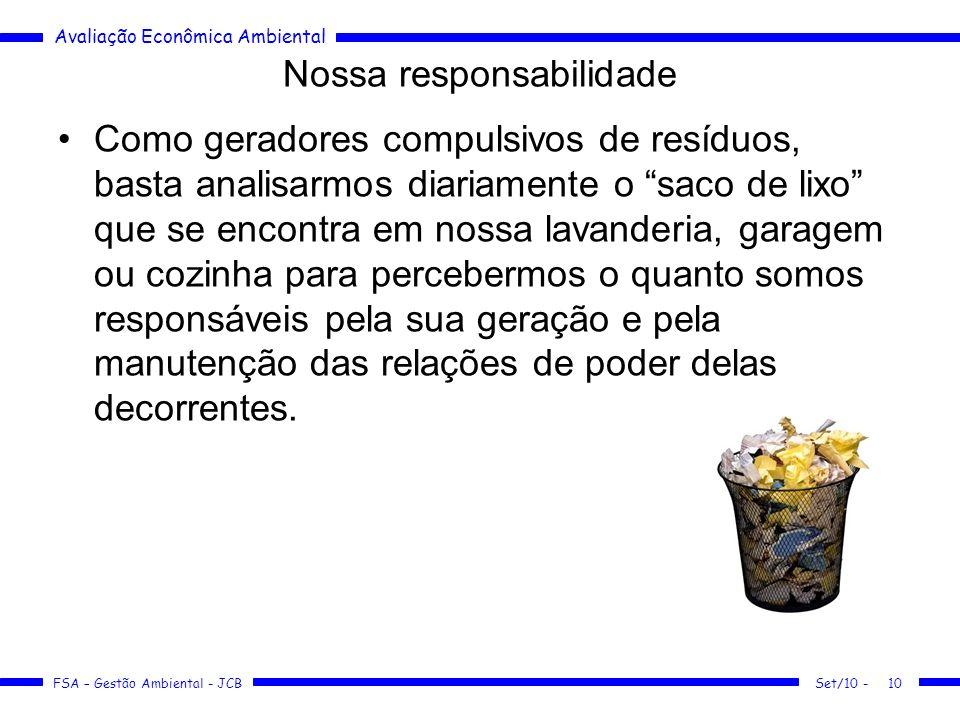 Avaliação Econômica Ambiental FSA – Gestão Ambiental - JCB Nossa responsabilidade Como geradores compulsivos de resíduos, basta analisarmos diariament