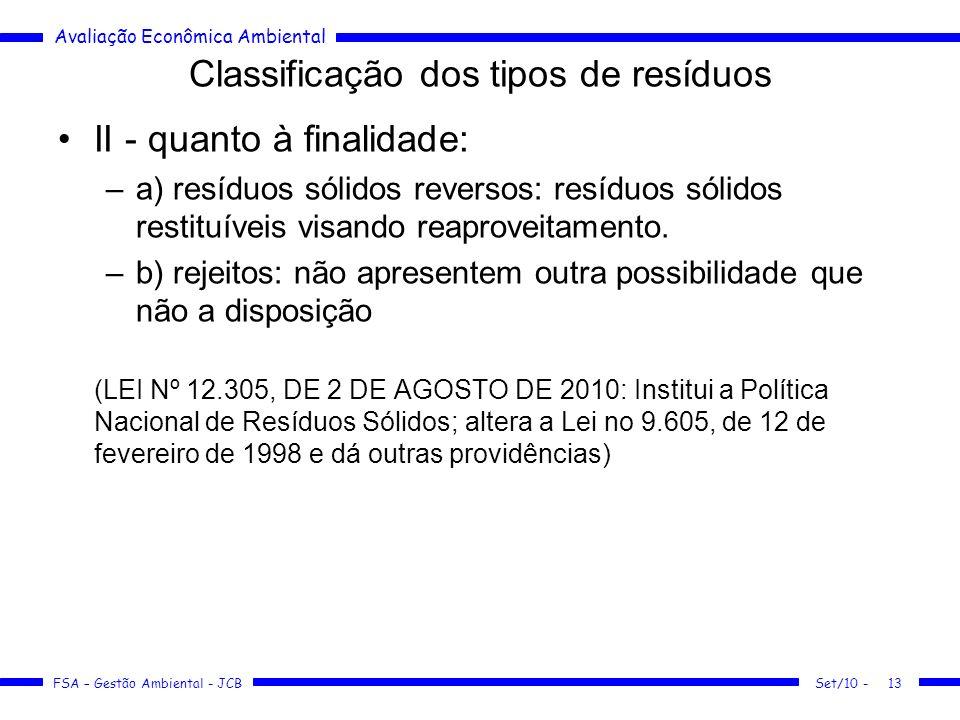 Avaliação Econômica Ambiental FSA – Gestão Ambiental - JCB Classificação dos tipos de resíduos II - quanto à finalidade: –a) resíduos sólidos reversos