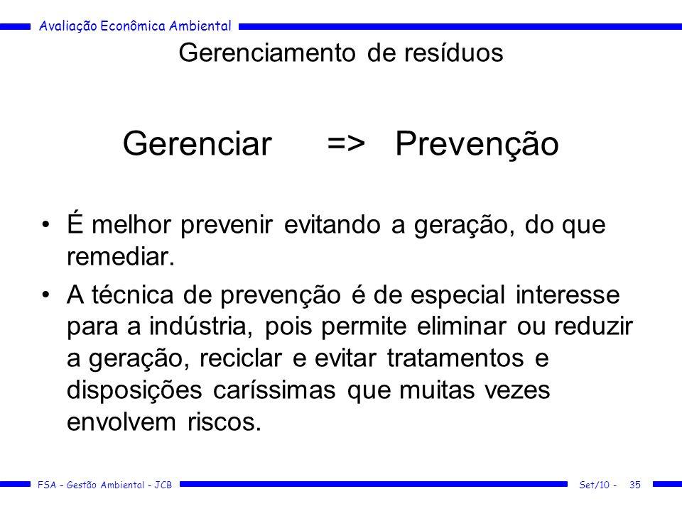 Avaliação Econômica Ambiental FSA – Gestão Ambiental - JCB Gerenciamento de resíduos Gerenciar=>Prevenção É melhor prevenir evitando a geração, do que