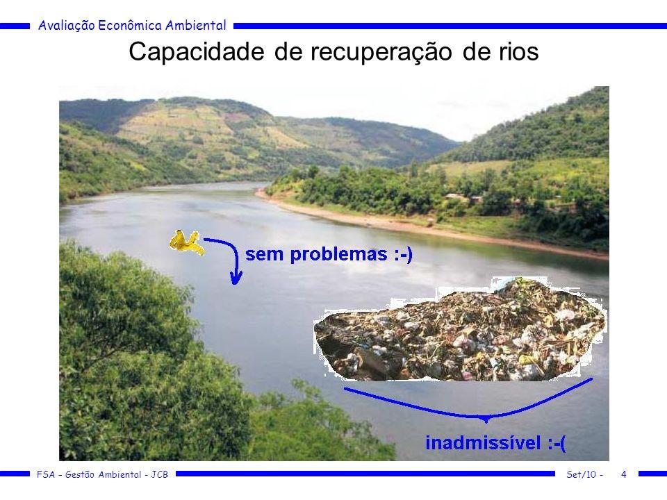 Avaliação Econômica Ambiental FSA – Gestão Ambiental - JCB Capacidade de recuperação de rios Set/10 -4