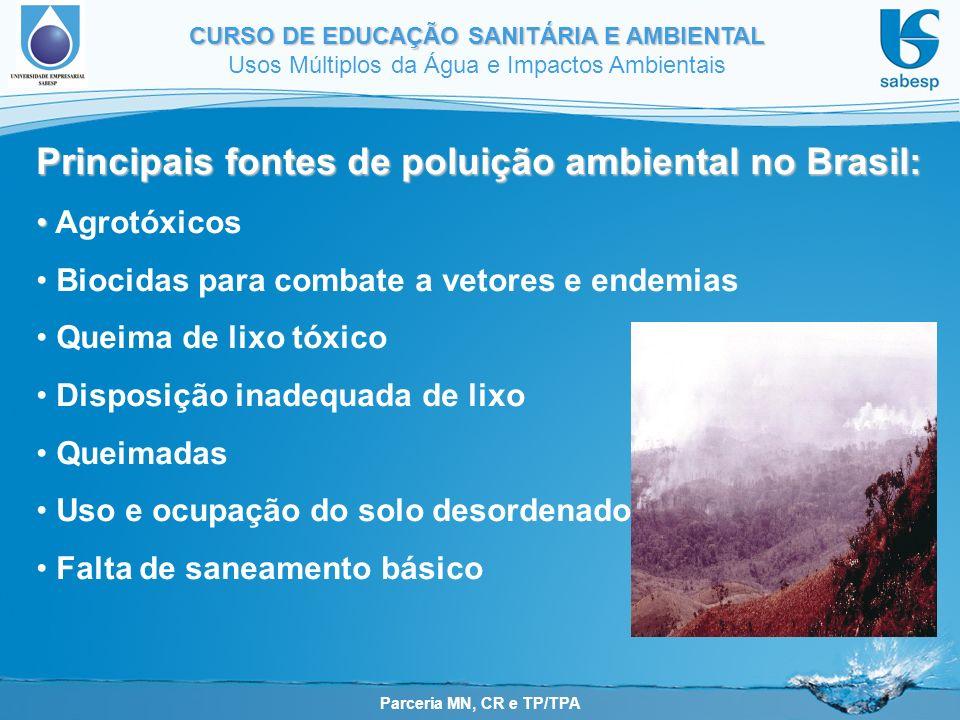 Parceria MN, CR e TP/TPA CURSO DE EDUCAÇÃO SANITÁRIA E AMBIENTAL Usos Múltiplos da Água e Impactos Ambientais Principais fontes de poluição ambiental no Brasil: Agrotóxicos Biocidas para combate a vetores e endemias Queima de lixo tóxico Disposição inadequada de lixo Queimadas Uso e ocupação do solo desordenado Falta de saneamento básico