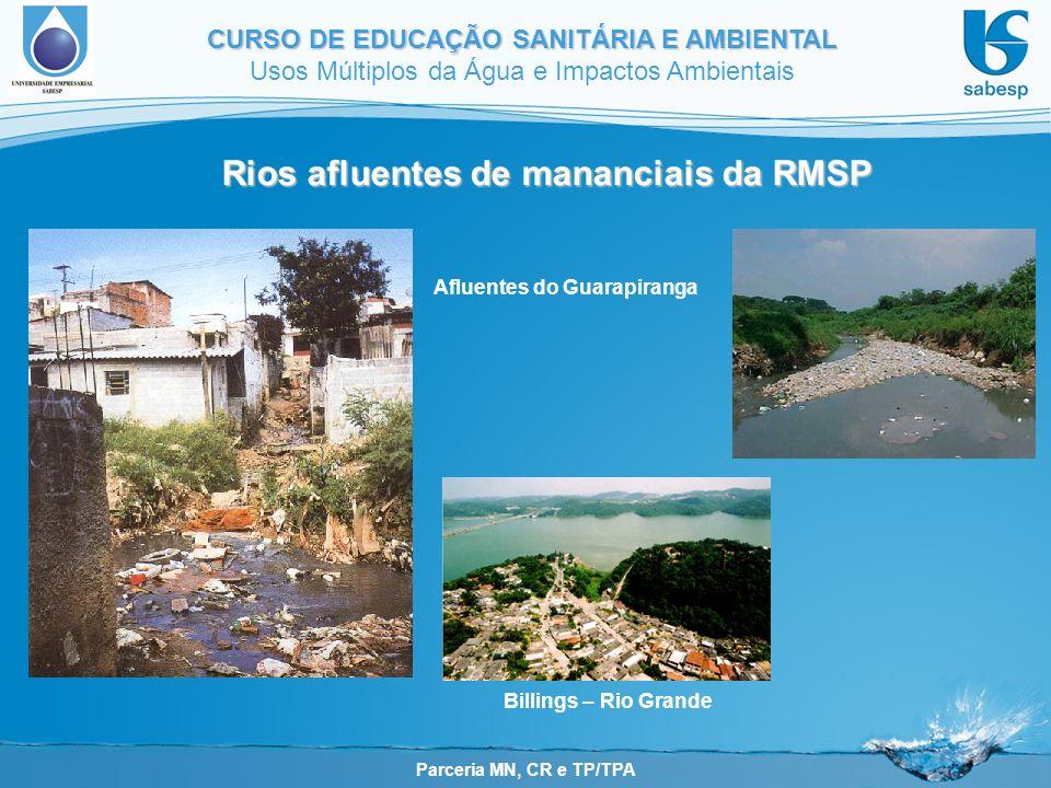 Parceria MN, CR e TP/TPA CURSO DE EDUCAÇÃO SANITÁRIA E AMBIENTAL Usos Múltiplos da Água e Impactos Ambientais Rios afluentes de mananciais da RMSP Afluentes do Guarapiranga Billings – Rio Grande