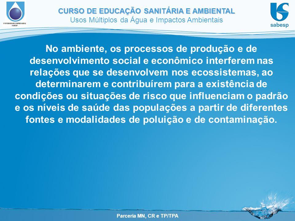Parceria MN, CR e TP/TPA CURSO DE EDUCAÇÃO SANITÁRIA E AMBIENTAL Usos Múltiplos da Água e Impactos Ambientais No ambiente, os processos de produção e