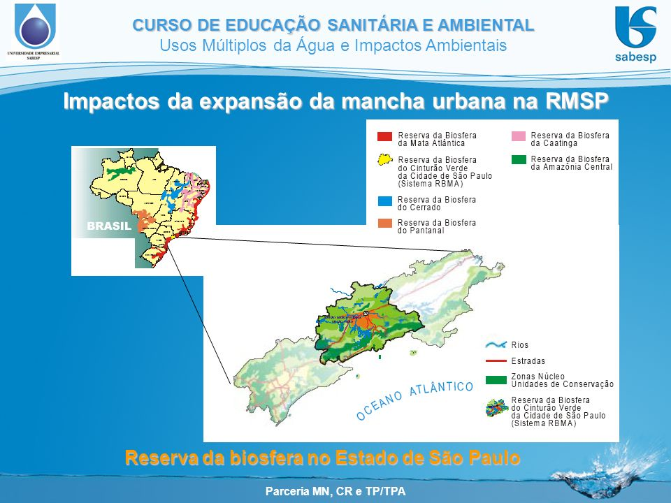 Parceria MN, CR e TP/TPA CURSO DE EDUCAÇÃO SANITÁRIA E AMBIENTAL Usos Múltiplos da Água e Impactos Ambientais Impactos da expansão da mancha urbana na RMSP Reserva da biosfera no Estado de São Paulo